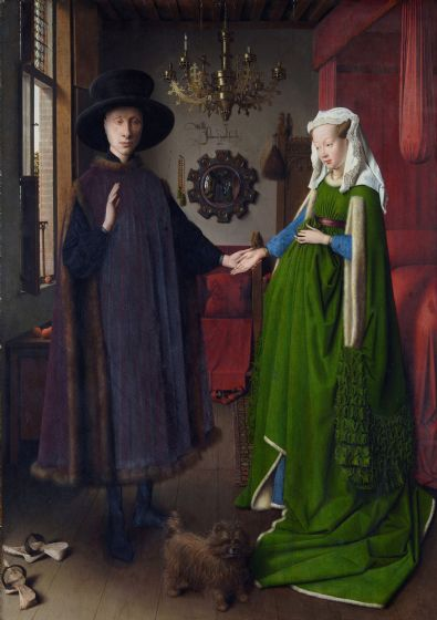 Eyck, Jan van: The Portrait of Giovanni Arnolfini and his Wife, The Arnolfini Marriage. Fine Art Print/Poster. Sizes: A4/A3/A2/A1 (001730)